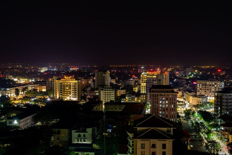 Night cityscape of Hue. City City At Night Cityscape Huế Night City Night Lights Nightphotography Vietnam Architecture Building Building Exterior Buildings Built Structure High Angle View Illuminated Night Night View Nightlife Outdoors Residential District Settlement Skyscraper