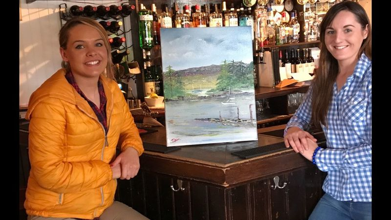 Sold my painting of the Badachro Bay in Scotland to the Badachro Inn Smiling Two People Portrait Indoors  Looking At Camera Young Women Young Adult Cheerful Friendship Women Lifestyles Happiness Retail  Business Finance And Industry Store Adult Togetherness Business Females People