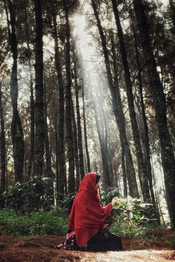 Woman Sitting Against Trees In Forest