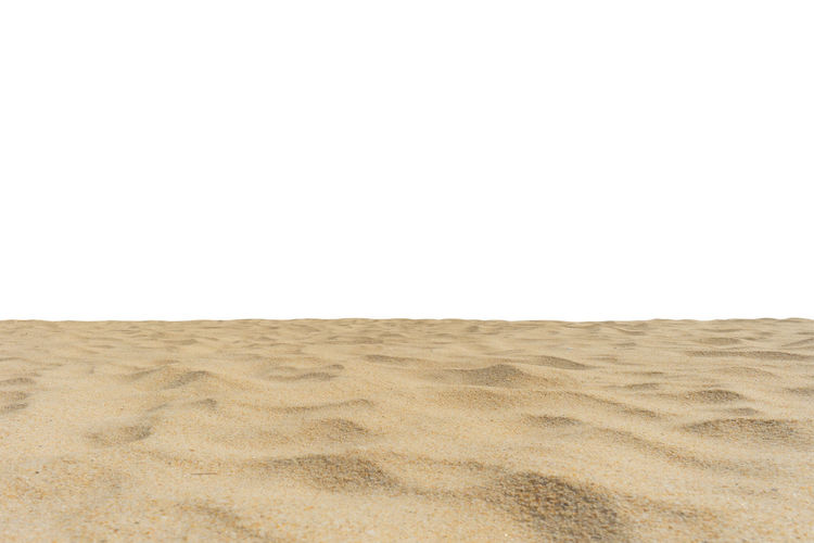 Beach sand texture isolated on white screen. Copy Space No People Land Sand Desert Environment Arid Climate Climate Landscape Scenics - Nature Nature Tranquility Day Isolated On White White Screen Di Cut Paper Summer White Background Sky Clear Sky Horizon Over Land Beach Brown Horizon Absence
