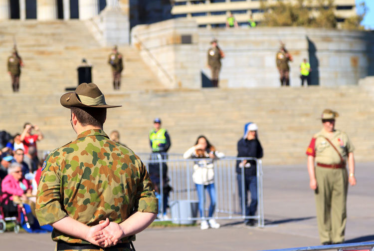A soldier stands guard on ANZAC Day. City City Life Eye4photography  EyeEm Best Shots Focus On Foreground Hat Leisure Activity Lifestyles Medium Group Of People Military Outdoors Selective Focus Soldier Taking Photos Traveling