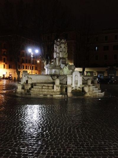Wet Illuminated Water Fountain Outdoors No People Rainy Season Taking Photos IPhoneography Goodmorning :) Buongiorno Mondo