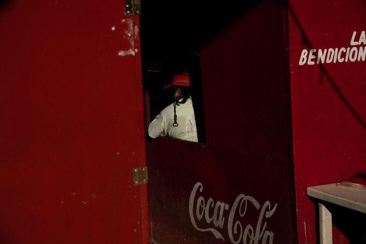 Text on red door