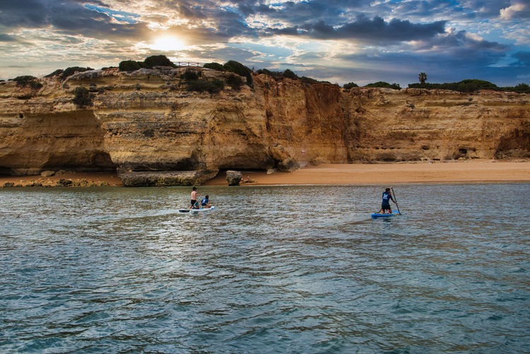 Boat trip along the coast of algarve, portugal with the famous rocks and caves