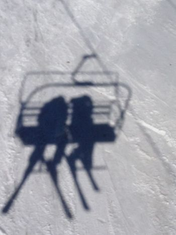 Baby It's Cold Outside It's Cold Outside Just The Two Of Us Long Shadows Ski Lift Ski Lift Silhouette Skiing Skis Winter White