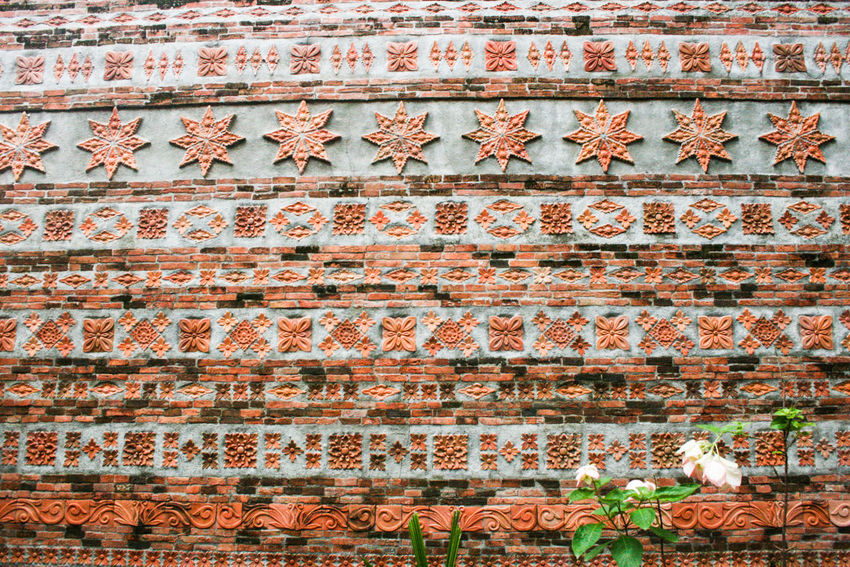 Architectural Feature Art Clay Culture Day Design Full Frame History Lines Natural Light No People Orange Outdoor Outdoors Philippines Red Style Temple - Building Wall Warm