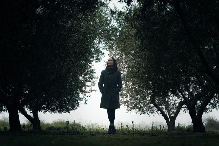 Full length of young woman looking up standing on field in forest