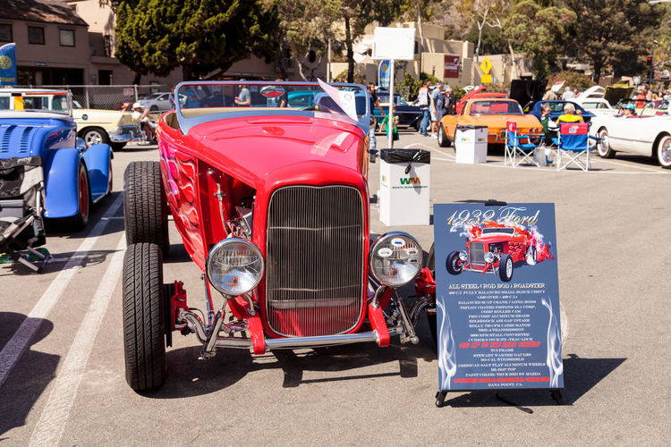 Laguna Beach, CA, USA - October 2, 2016: Red 1932 Ford Hi Boy owned by TJ Fink and displayed at the Rotary Club of Laguna Beach 2016 Classic Car Show. Editorial use. 1932 Car Car Show Classic Car Convertible Day Ford Hi Boy Hot Rod Laguna Beach No People Old Car Outdoors Sports Car Transportation Vintage Car