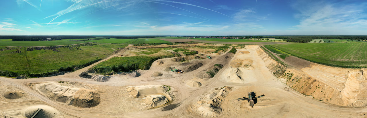 180 degree cylinder panorama from composite aerial photos of a sand pit in northern germany