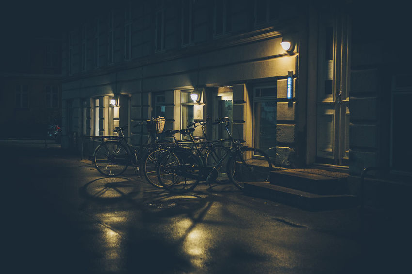 Architecture Bicycle Bicycle Rack Built Structure Illuminated Indoors  Land Vehicle Mode Of Transport Night No People Stationary Transportation