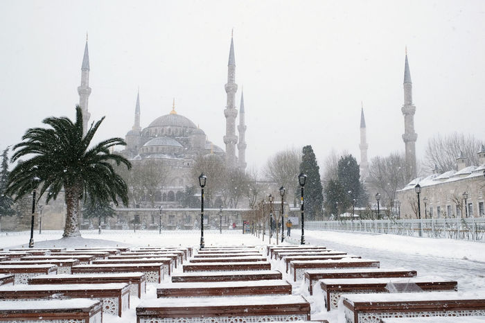 Sultan Ahmet Blue Mosque in snowy winter time, Istanbul 2017 Architecture Blue Mosque, Istanbul Cold Temperature Dome Islam Islamic Architecture Istanbul Turkey Mosque With 6 Minarets No People Outdoors Place Of Worship Snow Snowing Sultan Ahmed Mosque SultanAhmetBlueMosque Tourisme Destination Travel Travel Destinations Winter Winter Weather Mood Image