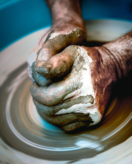 Art Dirty Hands Handmade Human Body Part Human Hand Lifestyles Potter Pottery Pottery Art