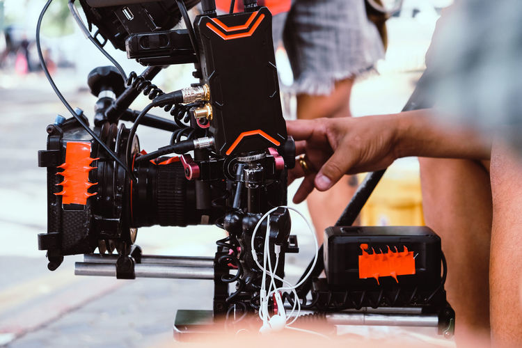 Close-up of photographing equipment outdoors