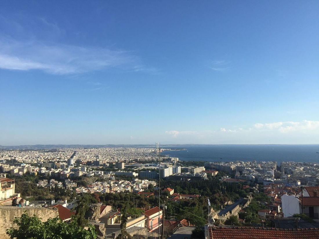 Panoramic view of Thess. (3) Greece Photos Thessaloniki Panorama Cityscape Outdoors Building Exterior Landscape Travel Destinations Sea Horizon Over Water