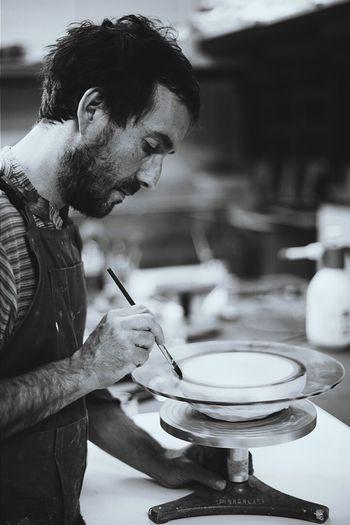 make glass dish Michelin Starred Restaurant art on table