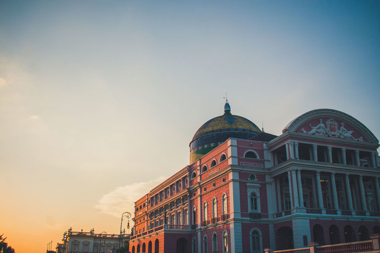 Beautiful sunset over the opera house in Manaus, Amazonia, Brazil Architecture Built Structure Building Exterior Sky Building Nature Outdoors Manaus, Amazonas, Brazil Manaus Brazil Opera House Sunset Red Orange Sky Orange Golden Hour No People South America EyeEm Selects EyeEm Gallery