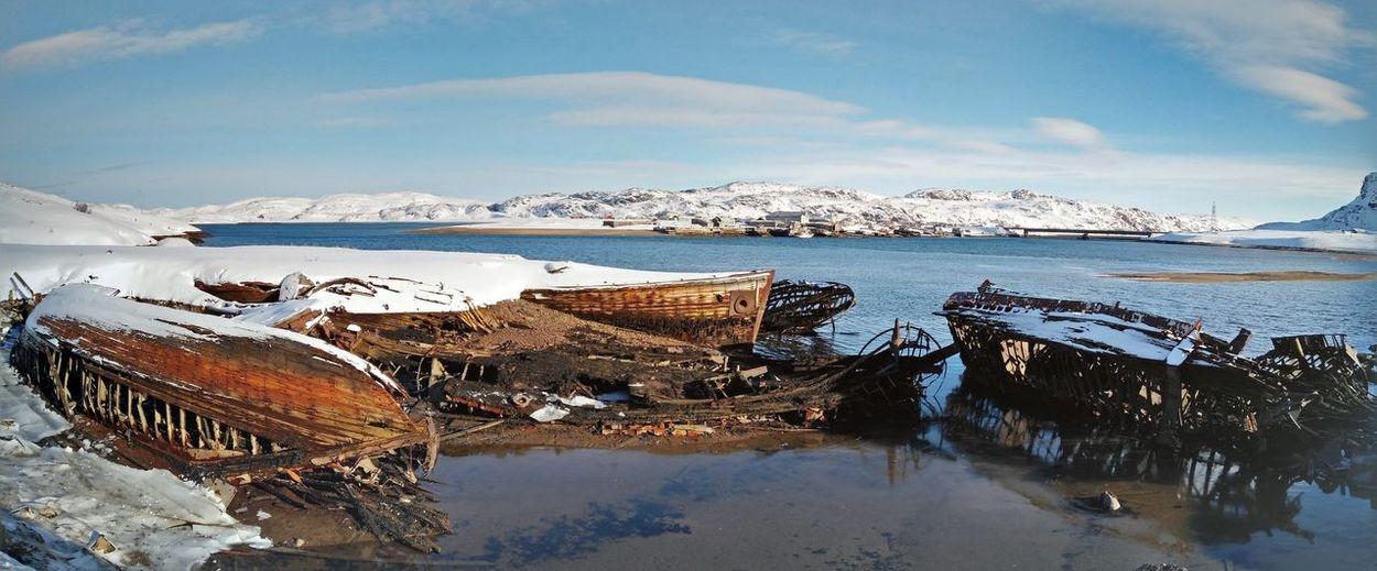 Teriberka Winter Snow Cold Temperature Beauty In Nature Water Sea Ghostships Oldship Murmanskregion Brokenship EyeEmNewHere