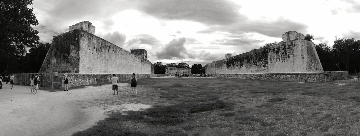 Monochrome Photography Pelota Court Chichen Itza Mexico Travel Huge Coulture Explore Take Photos Young And Wild