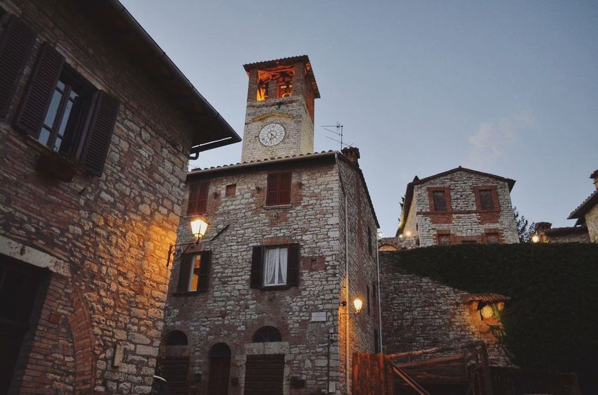 Corciano all'imbrunire. Architecture Built Structure Low Angle View Clock Building Exterior Sky Time Clock Tower No People Illuminated Outdoors Clock Face Day Astronomical Clock