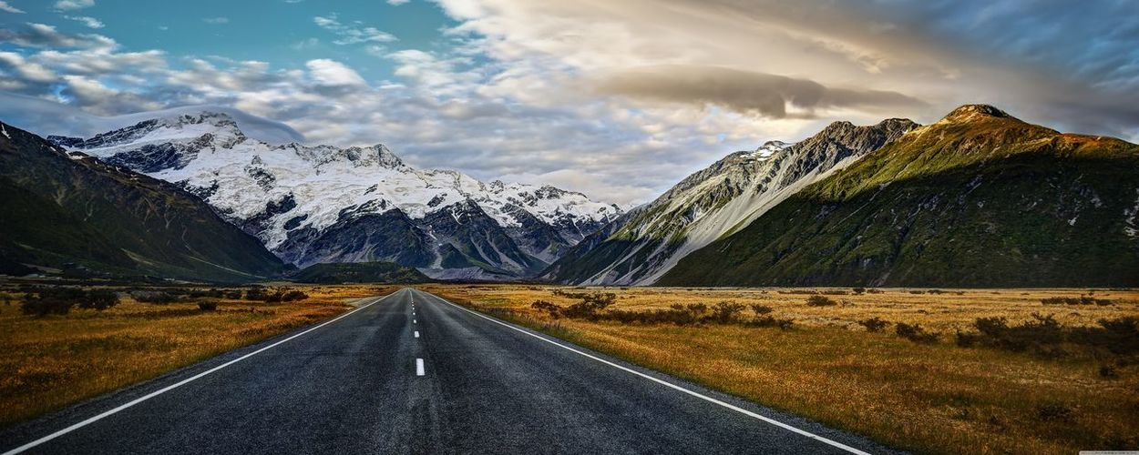 Beauty In Nature Cloud - Sky Day Landscape Mountain Mountain Range Nature No People Outdoors Road Scenics Sky Snow The Way Forward Tranquil Scene Tranquility Transportation