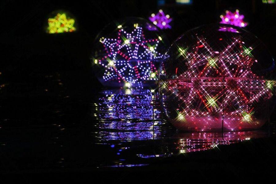 後楽園 東京ドーム 東京 Tokyo Tokyo,Japan Reflection Illuminated Night Multi Colored Celebration Christmas Shiny Christmas Decoration No People Close-up