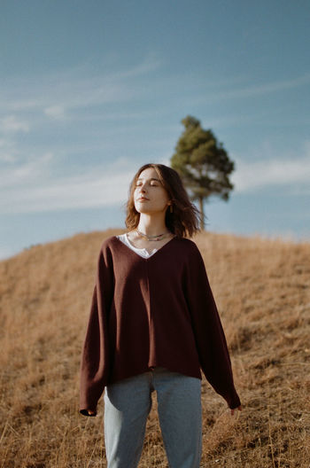 35mm film Canon Film Photography Analog 35mm Film Portrait Beautiful Woman Sand Dune Women Beauty Standing Rural Scene Wind The Modern Professional This Is Natural Beauty A New Perspective On Life International Women's Day 2019
