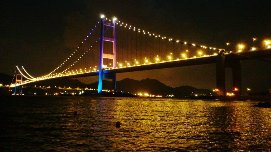 2015 Life In Hong Kong · Tsing Ma Bridge Hong Kong Ma Wan Enjoying Life Taking Photos At Night Night View Seaside