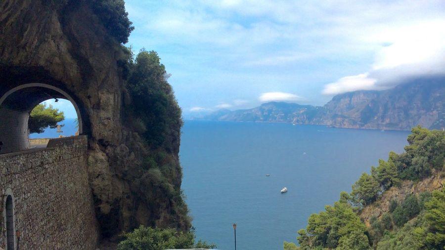 Amalfi Coast Beautiful Tunnel View Seaview Tunnel Mountain Hills Sea And Sky Landscape