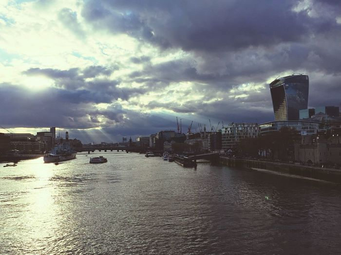 Quick shot on my iPhone from Tower Birdge of the beautiful sky as I walked home. London Sky Sunset Cityscapes River Thames Rays Light Clouds And Sky Boats Cranes Tower Bridge  Tower Of London Sky Garden 20 Fenchurch Street