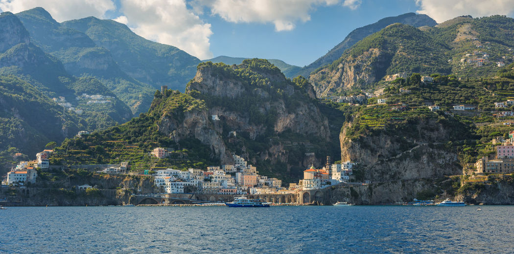 Atrani, Campania, Italy Beauty In Nature Cloud Cloud - Sky Day Hill Idyllic Landscape Mountain Mountain Range Nature No People Non-urban Scene Outdoors Remote Rippled Scenics Sky Town Tranquil Scene Tranquility Travel Destinations Water Waterfront