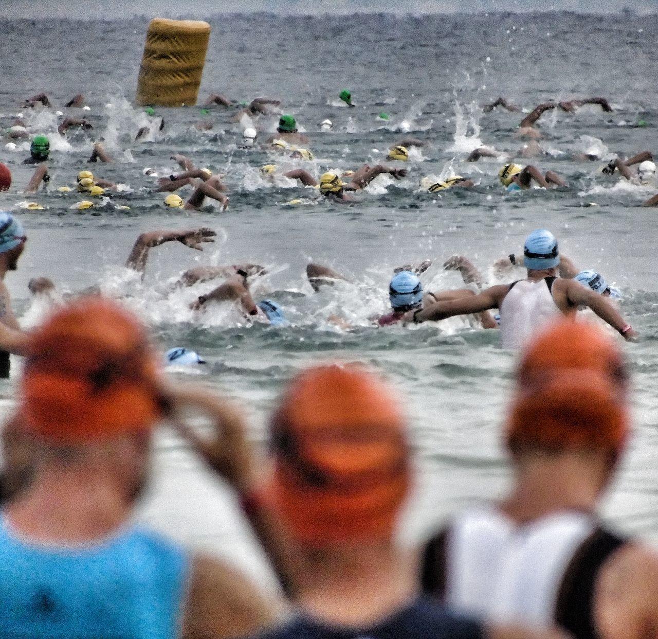 Triathletes swimming in sea