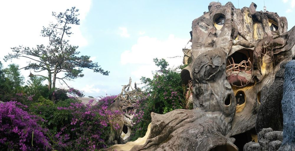 Architecture Da Lat City Hằng Nga Guesthouse South East Asia Vietnam Art And Craft Beauty In Nature Cloud - Sky Crazy House Da Lat Day Growth Low Angle View Nature No People Outdoors Plant Representation Rock - Object Sculpture Solid Statue Tranquility Tree
