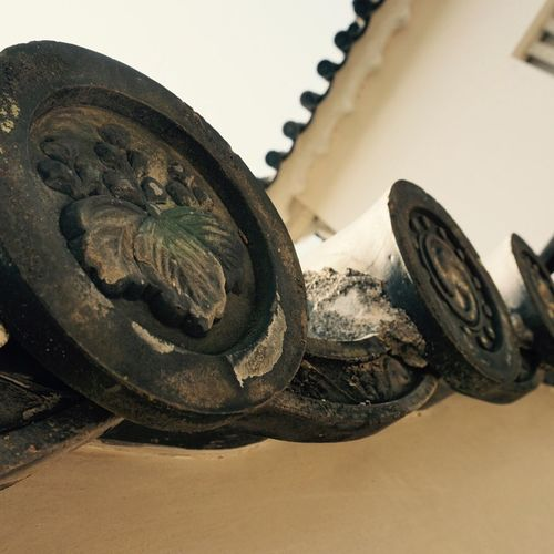 Close-up No People Low Angle View Tire Indoors  Sky Day Kawara Tile Part Of Castle History Building History Samurai House Castle Himeji Castle Japan Japanese Culture Japanese Style Outdoors