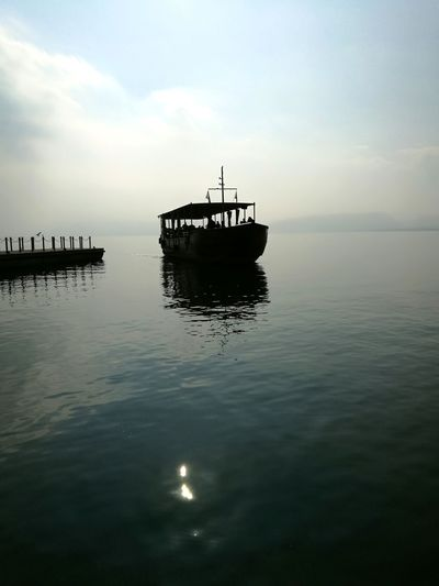 Sea of Galilee Water Sea Nautical Vessel Stilt House Reflection Floating On Water Sky Architecture Building Exterior Horizon Over Water