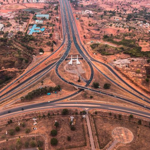 Welcome to Abuja EyeEm Gallery EyeEm Best Shots Abuja Nigeria Africa Road Transportation Aerial View High Angle View Traffic Highway Landscape No People Full Frame Outdoors Arid Climate The Way Forward Futuristic Tire Track Sand Day Nature