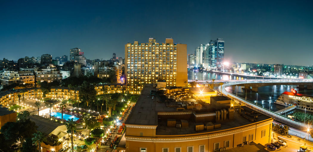 Cairo, Egypt - November 5, 2018: Aerial view of Zamalek Marriott hotel and surroundings at night. Architecture Building Exterior Built Structure City Illuminated Cityscape Night Sky Building Office Building Exterior High Angle View Urban Skyline City Life Landscape Modern Skyscraper Travel Destinations Outdoors Cairo Marriott Hotel Zamalek Egypt