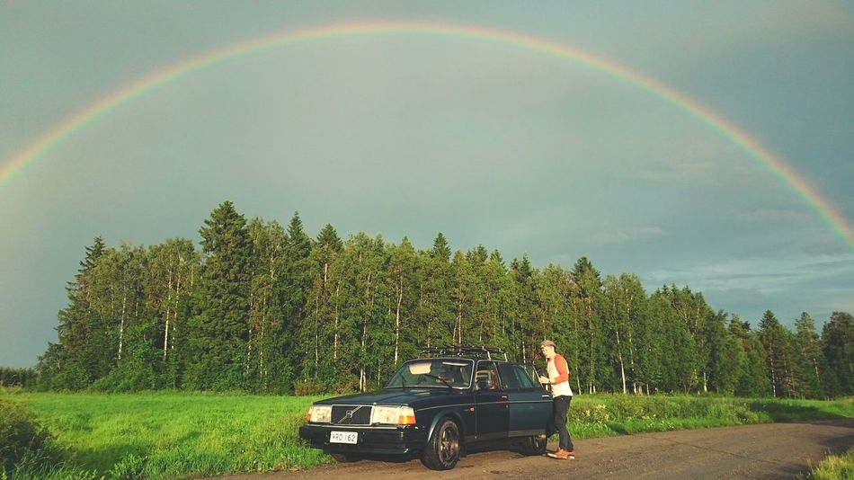 Rainbow Finland Landscape Glorydays Summer Volvo Volvo240 HustleHard