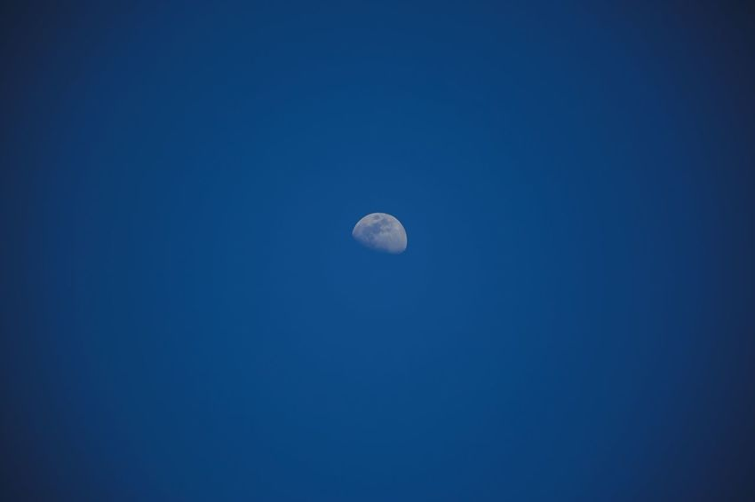Moon Sky Space Blue Astronomy Beauty In Nature Copy Space Night Tranquil Scene Clear Sky Tranquility Planetary Moon No People Scenics - Nature Nature Half Moon Idyllic Outdoors Moon Surface
