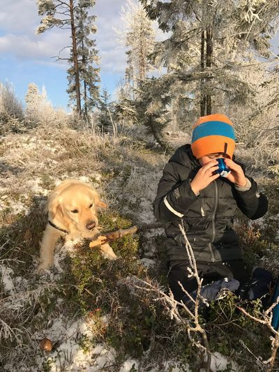 Outdoors Day Tree Winter Togetherness Dog Nature People Norway Spydeberg Snow Cacao