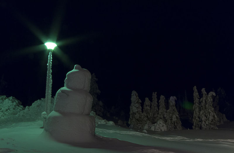 Beauty In Nature Cold Dark Electric Light Glowing Ice Illuminated Light Lighting Equipment Lit Nature Night No People Outdoors Scenics Sky Snow Snowman Tranquil Scene Tranquility Winter