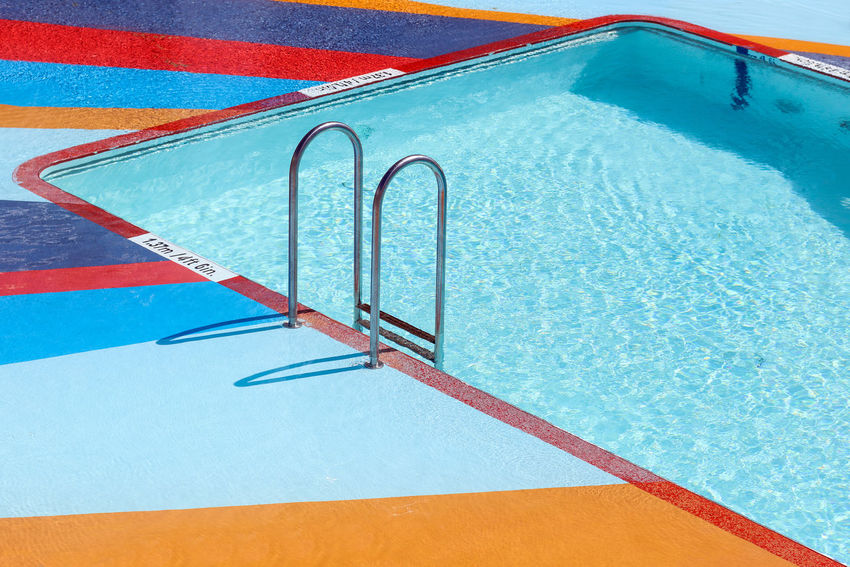Swimming Pool Stairs At The Edge Of Blue Day High Angle View Ladder No People Outdoors Pool Poolside Sunlight Swimming Pool Water