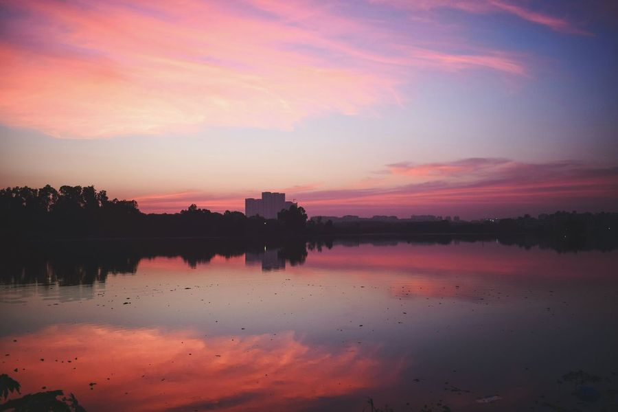 Sunset Reflection Landscape Nature Lake Beauty Sky Hyderabad Wetland Travel Destinations Silhouette Lake View Sunset Finding New Frontiers