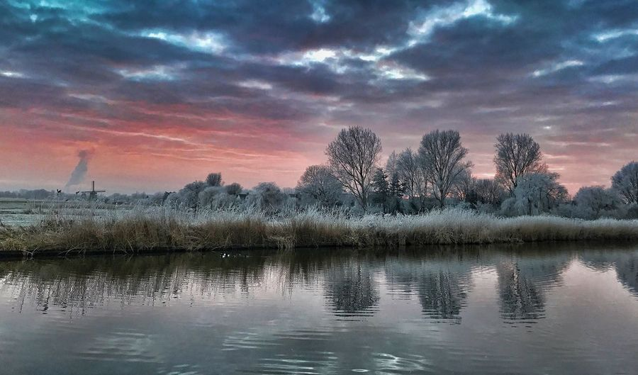 Reflection Tranquility Beauty In Nature Tranquil Scene Nature Water Sunset No People Outdoors Cold Cold Temperature Hoarfrost