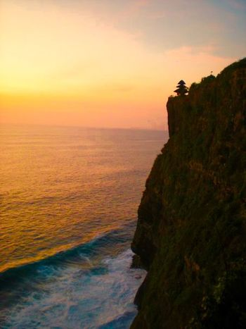 Cliffs Monkeytemple Bali, Indonesia Sunset Sea And Sky