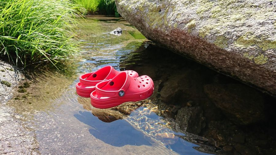 High angle view of red toy floating on rock in lake