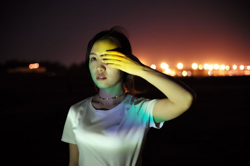 Night Leisure Activity Real People Lifestyles One Person Illuminated Standing 2017 Eyeem Awards Young Adult Smiling Outdoors Young Women Sky People EyeEmNewHere Light And Shadow Livestock Film EyeEm Gallery The Week On Eyem Girl Beauty Eyem Best Shots EyeEmBestPics Beauty In Nature