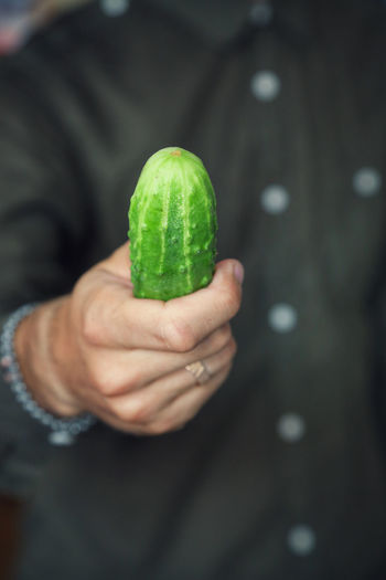 Midsection of man holding cucumber