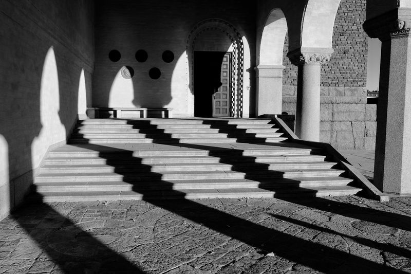 Architecture Built Structure Staircase Architectural Column Arch Shadow History Sunlight The Past Steps And Staircases Day Building No People Building Exterior Religion Nature Belief Travel Destinations In A Row Spirituality Colonnade Focus On Shadow