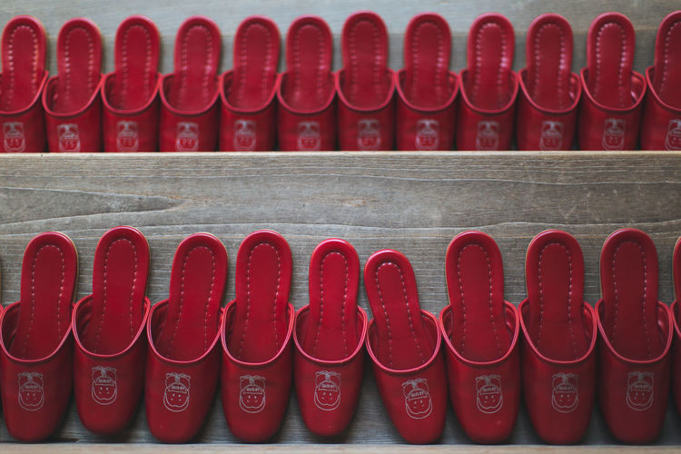 In A Row Red Side By Side Large Group Of Objects Repetition Arrangement Order Day Group Of Objects Arts Culture And Entertainment Neat Indoors  No People