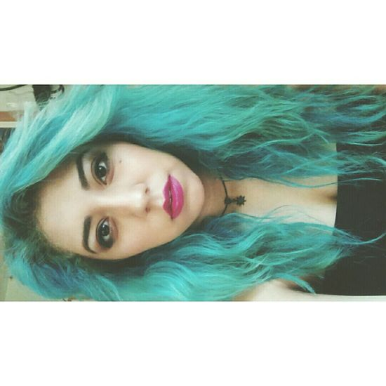 Hyuna Inspired 💋 Latina Me Teal Hair Manicpanic Kim Hyuna 4minute Kpop♥️ Makeup Selfie ♥ Eyebrows On Fleek